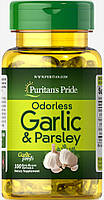 Чеснок и петрушка, Odorless Garlic & Parsley 500 mg / 100 mg, Puritan's Pride, 100 капсул