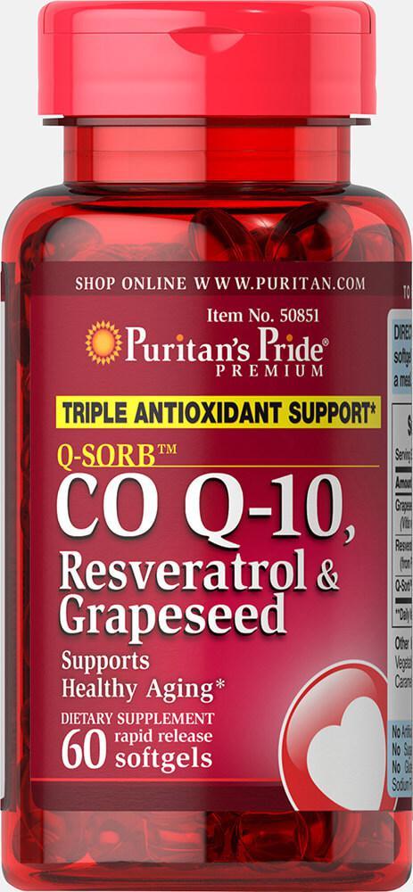 Коэнзим Q-SORB™ Co Q-10, Resveratrol & Grapeseed, Puritan's Pride, 60 капсул