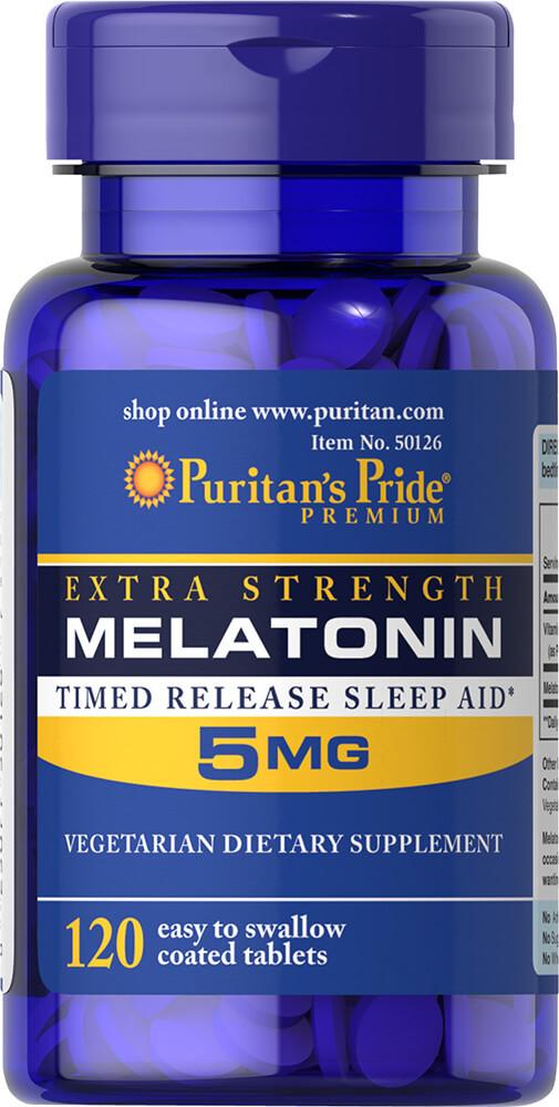 Мелатонин, Melatonin 5 mg Timed Release, Puritan's Pride, 120 таблеток