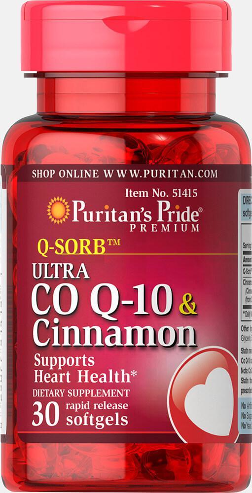 Коэнзим и корица, Q-SORB™ Ultra Co Q-10 200 mg & Cinnamon 1000 mg, Puritan's Pride, 30 капсул