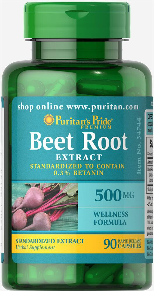 Экстракт свеклы, Beet Root Extract 500 mg, Puritan's Pride, 90 капсул