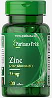 Цинк, Zinc 25 mg, Puritan's Pride, 100 таблеток