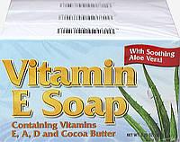Натуральное мыло с витамином Е и маслом какао, Natural Vitamin E Soap with Cocoa Butter, Puritan's Pride,3шт.