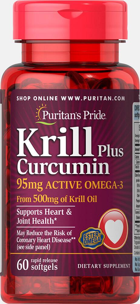 Омега-3 криль с куркумином, Krill Plus Curcumin 95 mg Active Omega-3, Puritan's Pride, 60 капсул