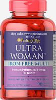 Витамины для женщин, Ultra Women™ Daily Multi Iron Free Timed Release, Puritan's Pride, 90 таблеток