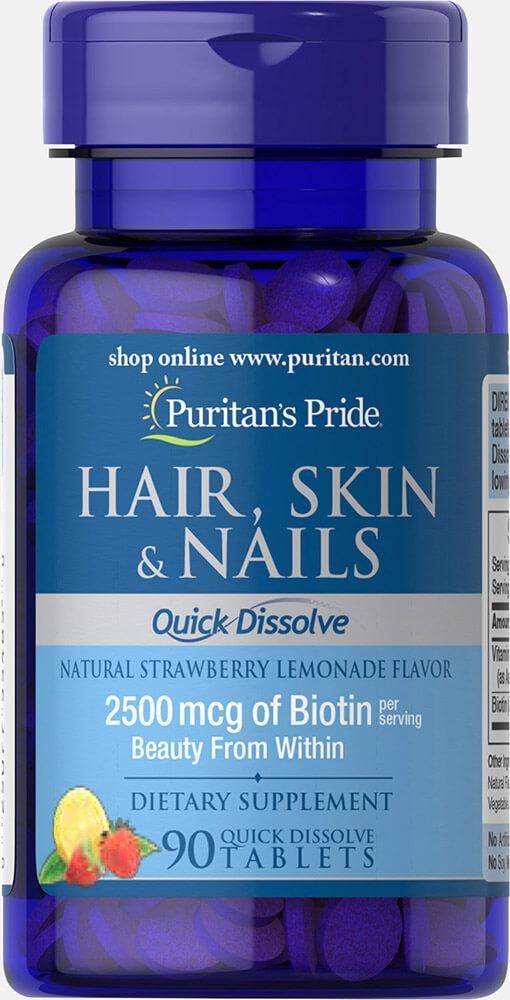 Волосы Кожа Ногти, Quick Dissolve Hair Skin Nails, Puritan's Pride, 90 таблеток