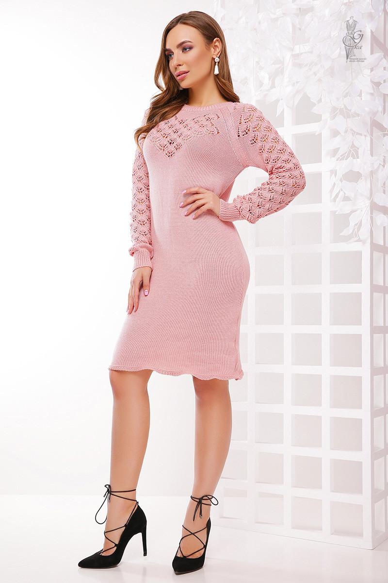 Вязаное платье из хлопка и акрила Карина-8