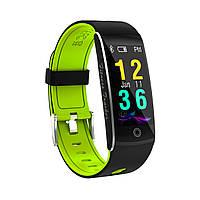 F10 Фитнес браслет цветной дисплей тонометр для iPhone Android трекер пульсометр калории сон черно-зеленый