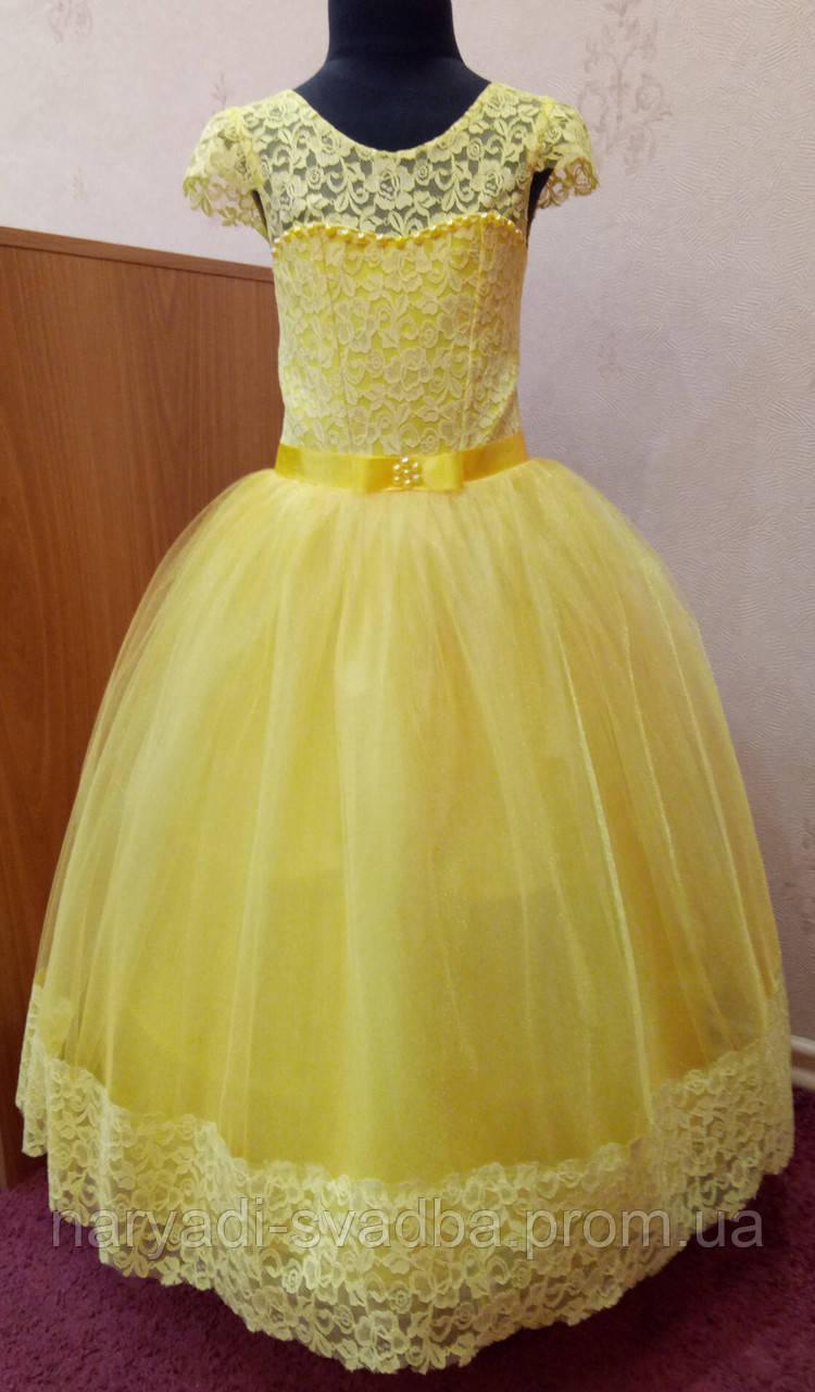 c28667dd86e Необычное солнечно-желтое детское платье из гипюра на 4-6 лет - свадебный  салон