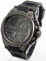 Мужские спортивные наручные часы (черные + зеленые)