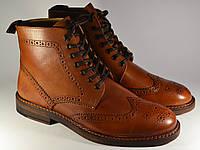 Ботинки мужские броги кожа ASOS Brogue Boots in Tan Leather коричневые оригинал