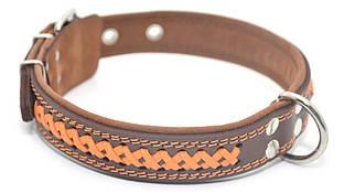 Ошейник для собак кожаный с плетением VIP7 коричневый+рыжий
