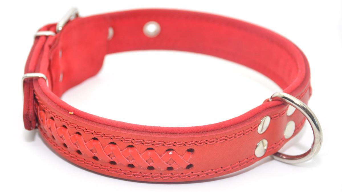 Ошейник для собак кожаный с плетением VIP7 красный