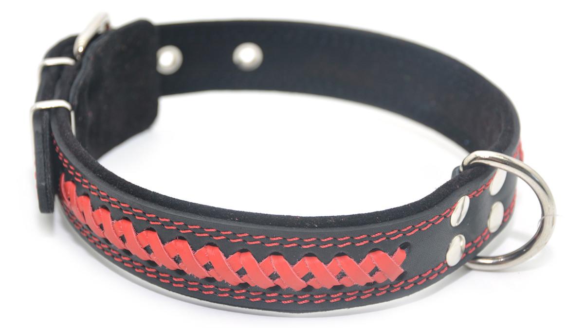 Ошейник для собак кожаный с плетением VIP7 черный+красный