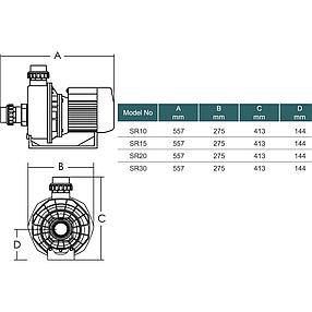 Насос Emaux SR30 (380В, 31 м³/час, 3.0HP), для аттракционов (без префильтра), фото 2