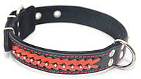 Ошейник для собак кожаный с плетением VIP8 черный+красный
