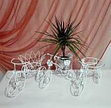 Подставка для цветов кованая Велосипед на 1 вазон мини белый І Цветочная подставка, фото 7