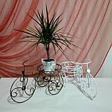 Подставка для цветов кованая Велосипед на 1 вазон мини белый І Цветочная подставка, фото 6