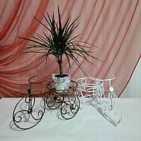 Кованая подставка для цветов Велосипед 1 мини белый, фото 1