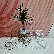 Кованая подставка для цветов Велосипед 1 мини белый