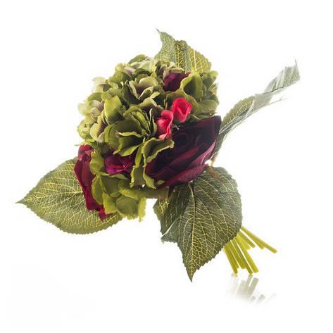 Букет искусственный цветов роза и гортензия., фото 2