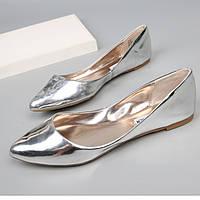 Женские серебряные балетки 36