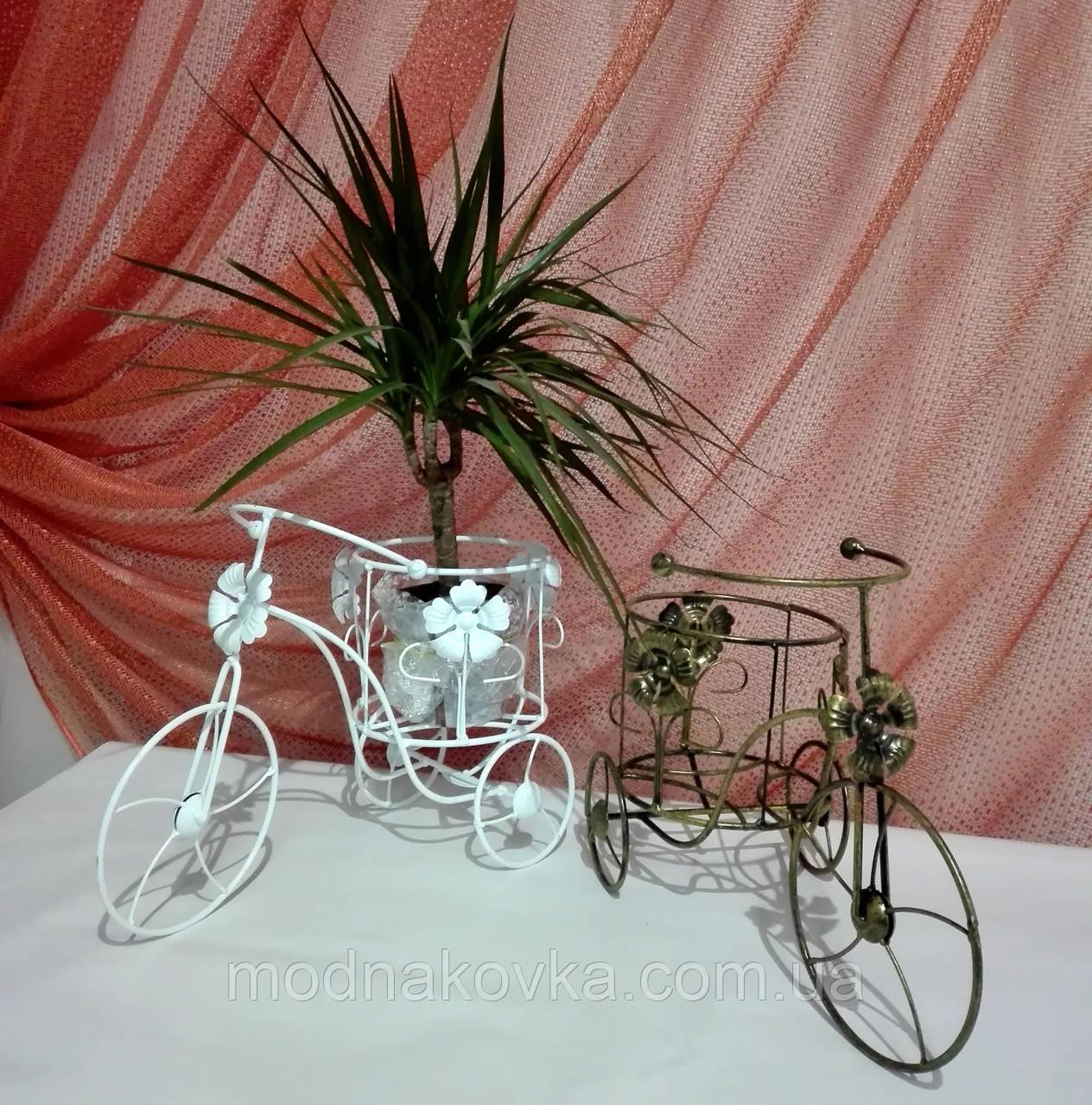 Кованая подставка для цветов Велосипед 1 мини Мальва белый
