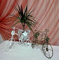 Кованая подставка для цветов Велосипед 1 мини Мальва белый, фото 1