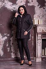 Черная стильная джинсовая парка больших размеров Корона, фото 2