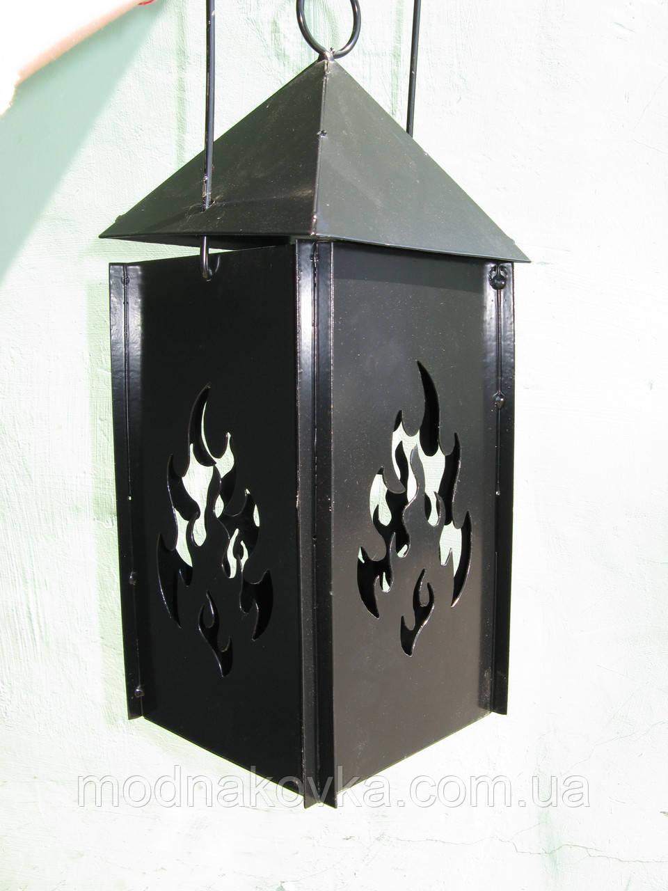 Декор металлический - светильник Домик с огнем