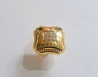 Z162-00 Gold Ручка кнопка с кристаллами, глянцевое золото, фото 1