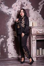 Черный модный костюм с брюками большие размеры 48-82 размер, фото 3