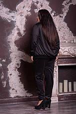 Черный модный костюм с брюками большие размеры 48-82 размер, фото 2