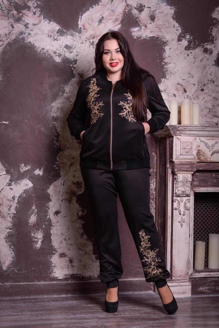 Черный модный костюм с брюками большие размеры 48-82 размер