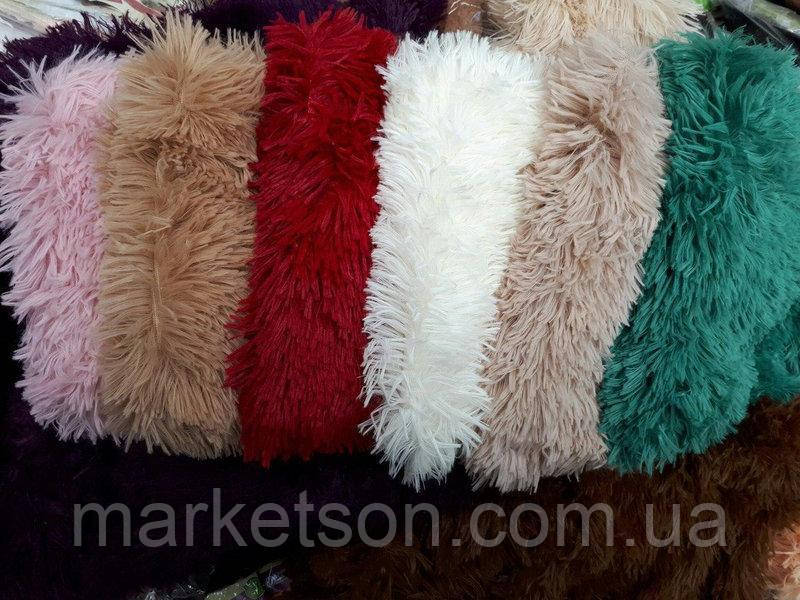 Меховые декоративные наволочки 50х50 с длинным ворсом травка мишки