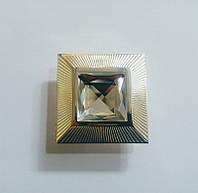 Z104-32 Platinum Ручка кнопка с кристаллом, платина 32 мм, фото 1