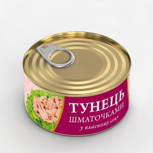 Консерва Fish Line 185г Тунець шматочками у в/с