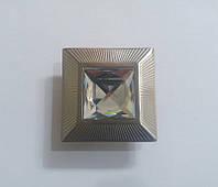 Z104-32 Inox Ручка кнопка с кристаллом, никель браш 32 мм, фото 1
