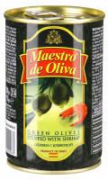 Оливки Maestro de oliva 300г зелені з креветкою