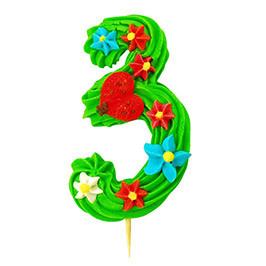 Декор кондитерський Добрик Цифра червона №3 24 шт./ящ. (асорті)