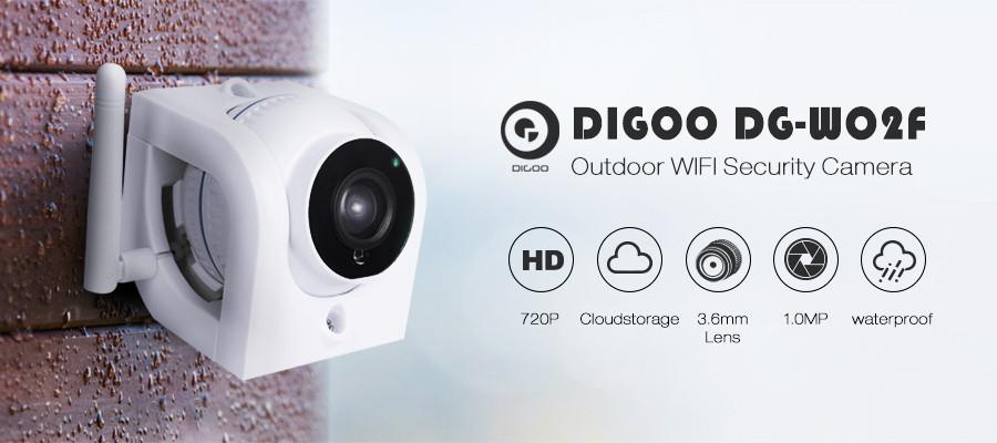 Digoo DG-W02f  720P наружная водозащищенная Wifi IP камера с режимом ночного видения и поддержкой карт памяти