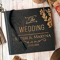 """Деревянная свадебная книга для пожеланий 22х23 см с тонированной обложкой """"The Wedding"""", фото 1"""