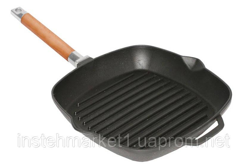 Сковорода-гриль БИОЛ 1026 (260х260 мм) чугунная со съёмной деревянной ручкой