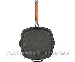 Сковорода-гриль БИОЛ 1026 (260х260 мм) чугунная со съёмной деревянной ручкой, фото 2