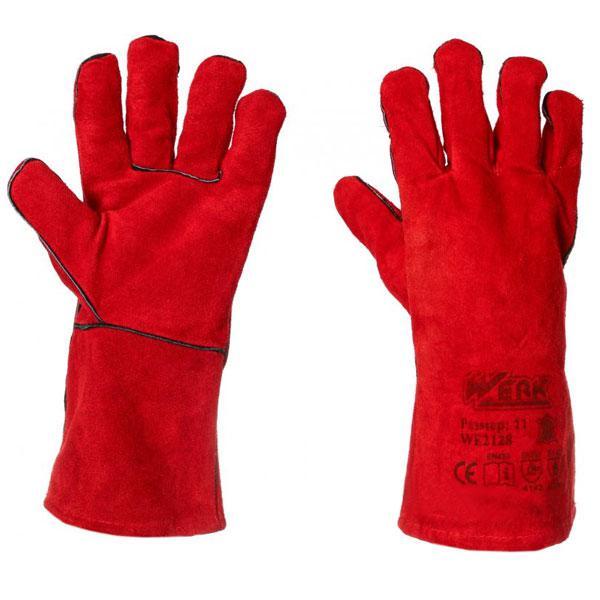 Перчатки замшевые (краги) красные с подвеской Werk WE2128H
