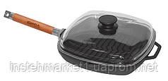 Сковорода-гриль БИОЛ 1028C (280х280 мм) чугунная со съёмной деревянной ручкой