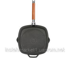 Сковорода-гриль БИОЛ 1026C (260х260 мм) чугунная со съёмной деревянной ручкой, фото 2