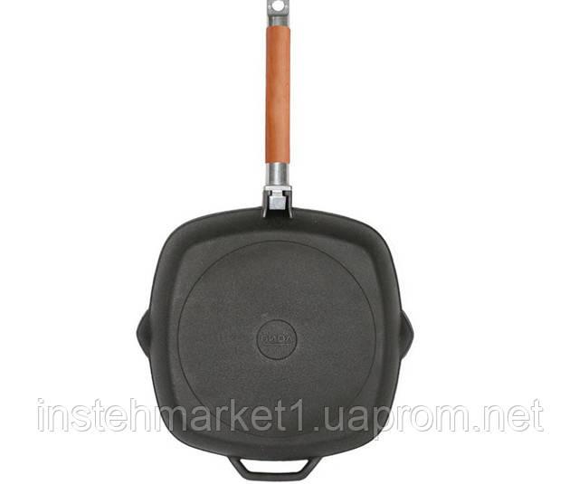 """Сковорода-гриль чугунная БИОЛ 1026C (260х45 мм), съёмная деревянная ручка в интернет-магазине """"Инстехмаркет"""""""