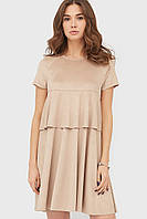 Женское замшевое платье трапецией с коротким рукавом (Leos crd)