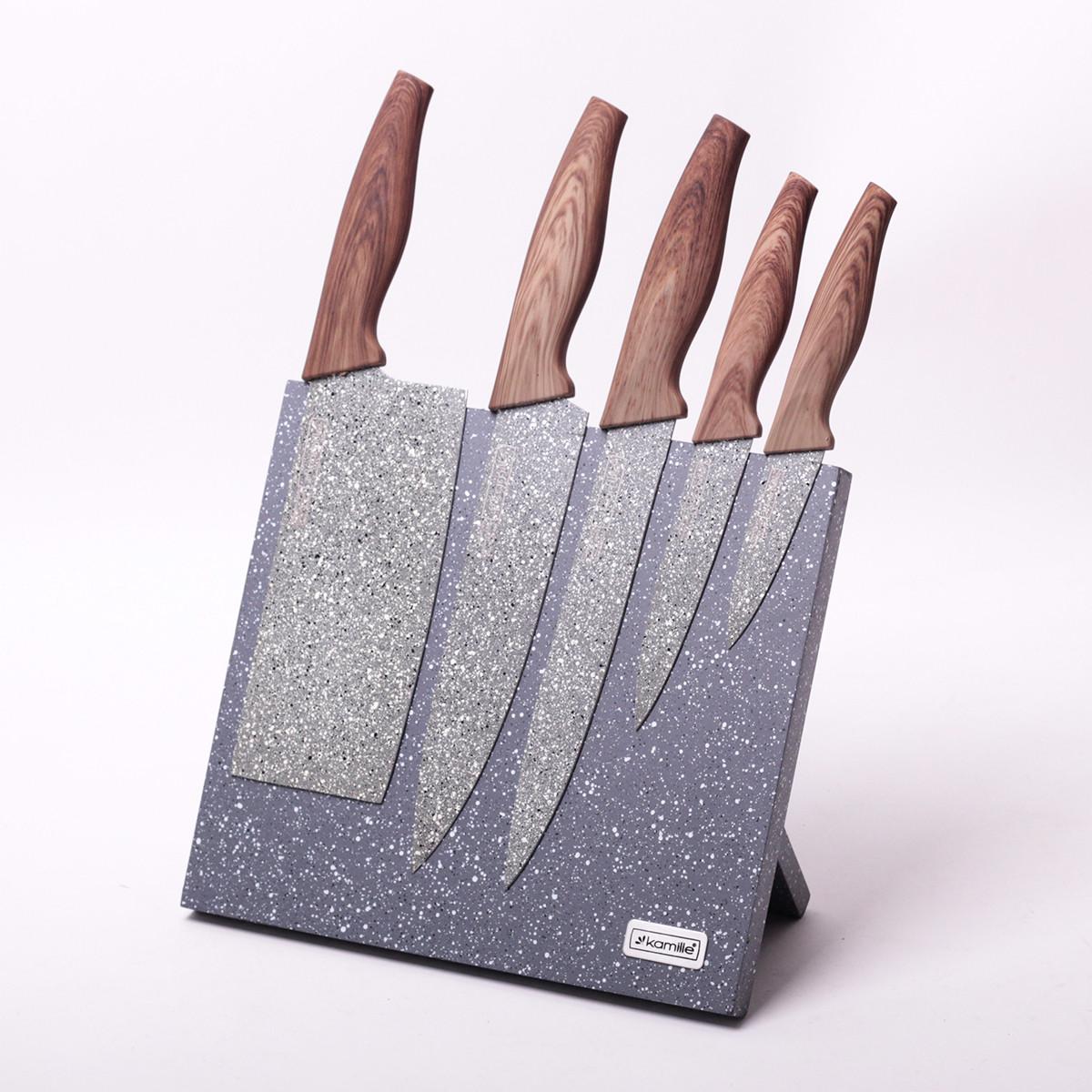 Набор кухонных ножей из нерж/ст с мраморным покрытием Kamille, 5 ножей на акриловой (магнитной) подставке